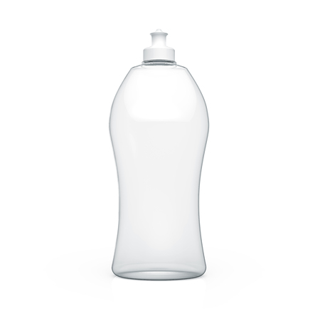 Dishwashing bottle mockup, 3d rendering of kitchenware template, transparent plastic container without label Stock Photo