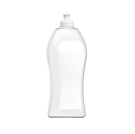 Dishwashing bottle mockup, 3d rendering of kitchenware template, transparent plastic container with label