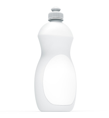 Dishwashing bottle mockup, 3d rendering of kitchenware template, white plastic container with label