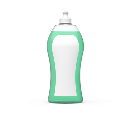 Dishwashing bottle mockup, 3d rendering of kitchenware template, plastic container with label and green liquid in it