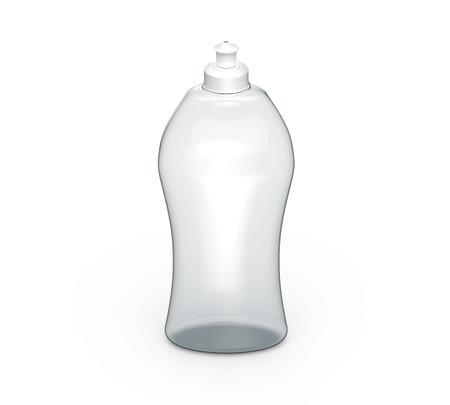 Dishwashing bottle mockup, 3d rendering of kitchenware template, transparent plastic container without label Reklamní fotografie