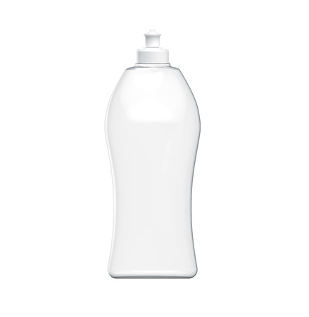 Dishwashing bottle mockup, 3d rendering of kitchenware template, transparent plastic container without label Stok Fotoğraf