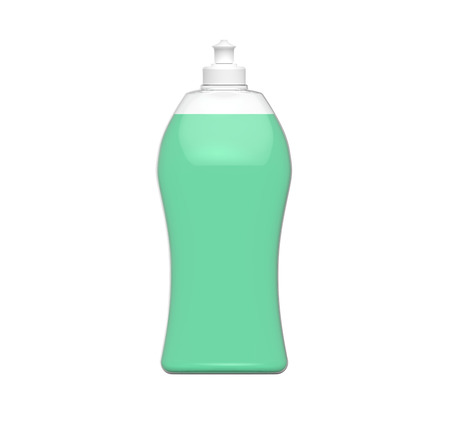 Dishwashing bottle mockup, 3d rendering of kitchenware template, plastic container with green liquid in it
