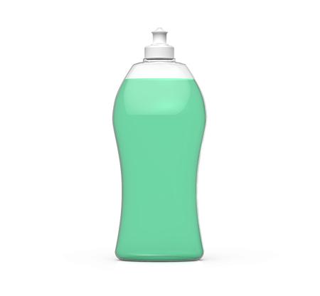洗剤ボトルのモックアップ、台所用品テンプレート、それで緑の液体をプラスチックの容器の 3 d レンダリング
