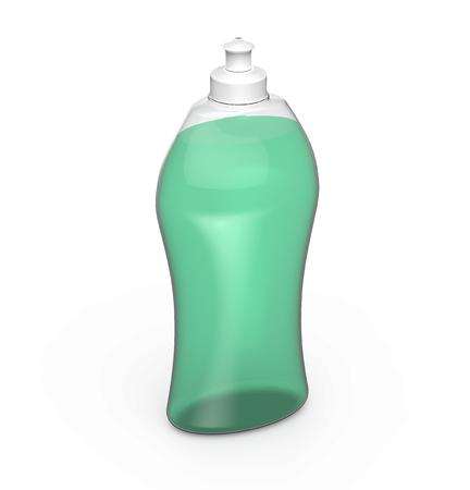 lavar platos: Maqueta de la botella para lavar platos, representación 3D de la plantilla de utensilios de cocina, recipiente de plástico con líquido verde en ella