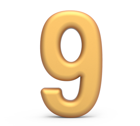 golden number 9, 3D rendering matte gold number isolated on white background