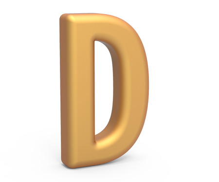english letters: golden letter D, 3D rendering thin and tall alphabet in matte golden color Stock Photo