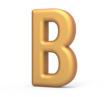 english letters: golden letter B, 3D rendering thin and tall alphabet in matte golden color