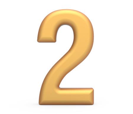ゴールデンナンバー2、3D レンダリングマットゴールドの数字は、白の背景に分離