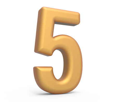 golden number 5, 3D rendering matte gold number isolated on white background Imagens