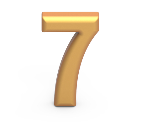 golden number 7, 3D rendering matte gold number isolated on white background 版權商用圖片