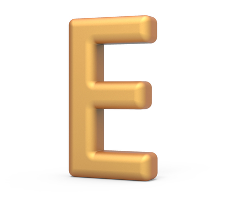 english letters: golden letter E, 3D rendering thin and tall alphabet in matte golden color Stock Photo