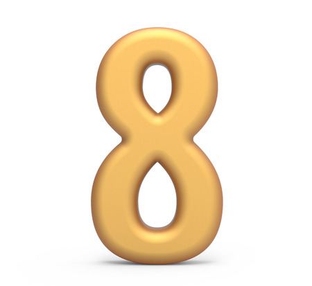 golden number 8, 3D rendering matte gold number isolated on white background