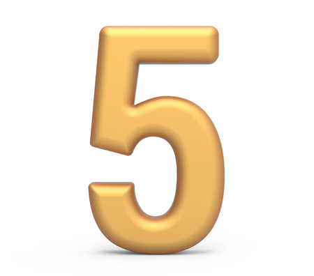 golden number 5, 3D rendering matte gold number isolated on white background Stock fotó