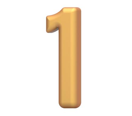 gouden nummer 1, 3D-rendering mat goud nummer geïsoleerd op een witte achtergrond Stockfoto