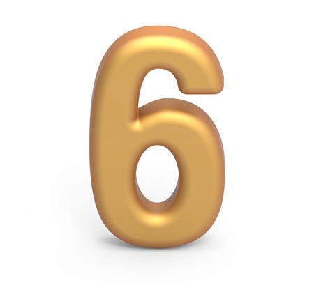 Goldene Nummer 6, 3D-Rendering matt Gold Nummer isoliert auf weißem Hintergrund