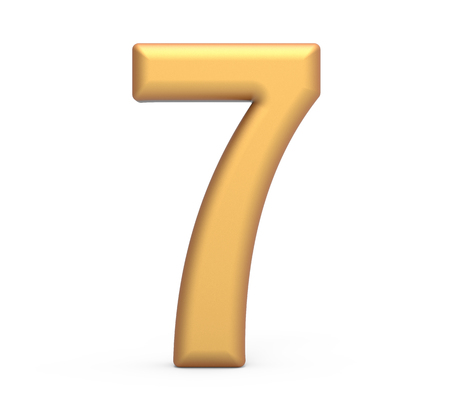 golden number 7, 3D rendering matte gold number isolated on white background Imagens