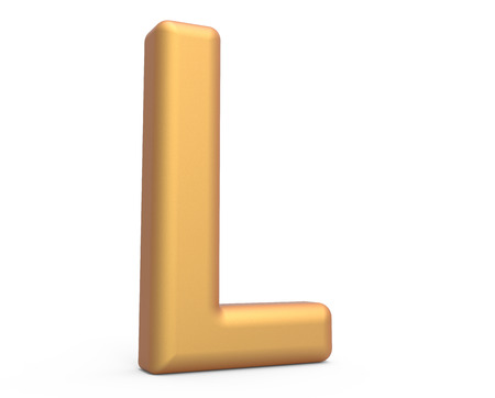 english letters: golden letter L, 3D rendering thin and tall alphabet in matte golden color Stock Photo