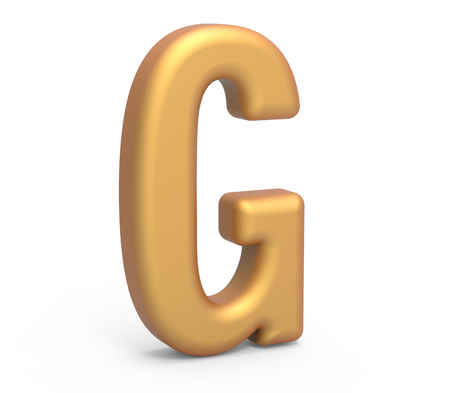 english letters: golden letter G, 3D rendering thin and tall alphabet in matte golden color