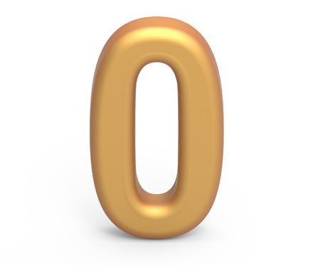 ゴールデンナンバー 0, 3D レンダリングマットゴールドの数字は、白の背景に分離