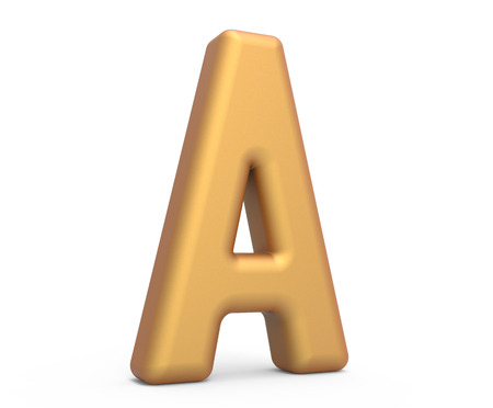 golden letter A, 3D rendering thin and tall alphabet in matte golden color