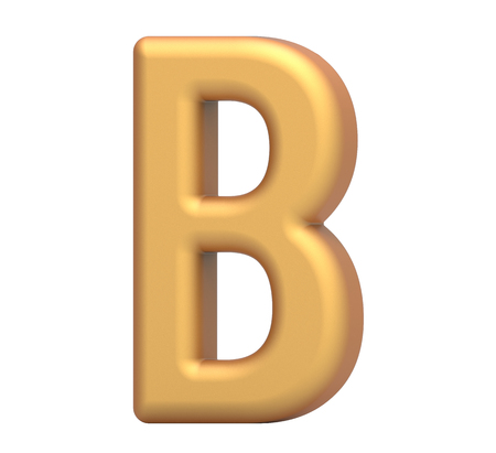 golden letter B, 3D rendering thin and tall alphabet in matte golden color