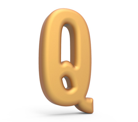 english letters: golden letter Q, 3D rendering thin and tall alphabet in matte golden color