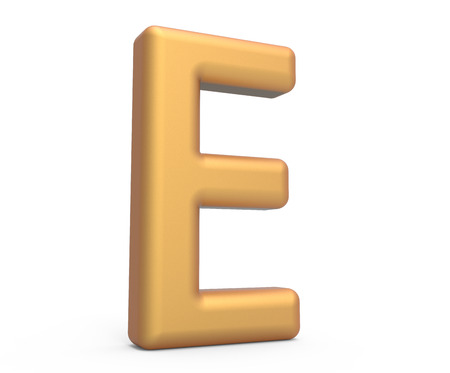 golden letter E, 3D rendering thin and tall alphabet in matte golden color 版權商用圖片