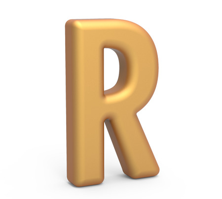 english letters: golden letter R, 3D rendering thin and tall alphabet in matte golden color Stock Photo