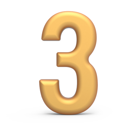 golden number 3, 3D rendering matte gold number isolated on white background