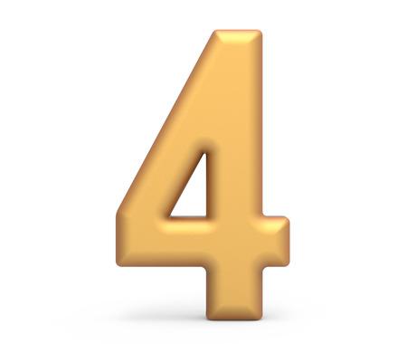 ゴールデンナンバー4、3D レンダリングマットゴールドの数字は、白の背景に分離