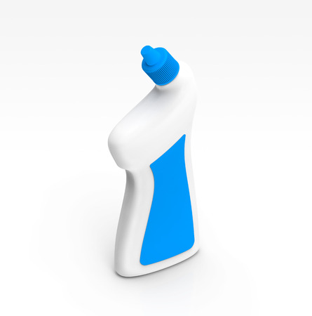 Toilet Cleaner container mockup, blank detergent template in 3d rendering with blue lid and label
