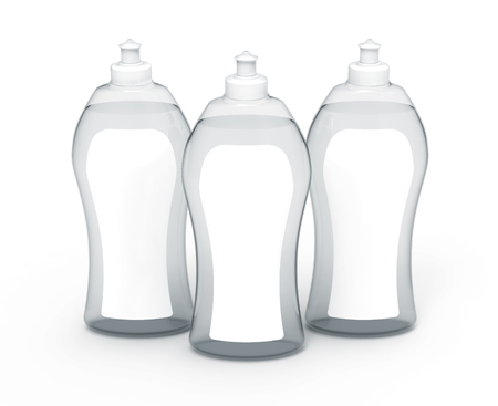 3D rendering Dishwashing liquid, transparent detergent mockup set with label for design uses