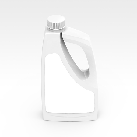 Blank detergent bottle mockup, drain cleaner plastic bottle with label isolated on white background in 3d rendering