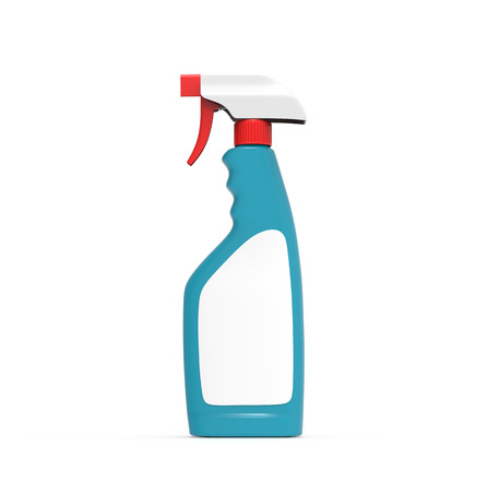 Glass Cleaner mockup, 3d rendering turquoise spray bottle template with red spray lid and blank label