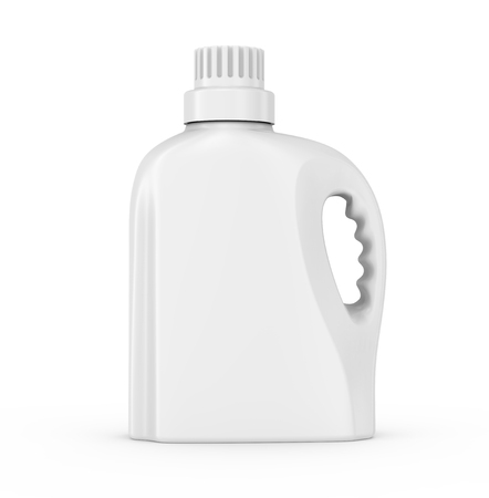 De containermodel van de wasserijdetergens, geïsoleerde lege plastic fles in het 3d teruggeven