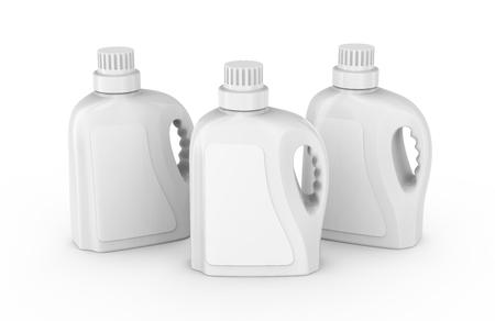 De containermodel van de wasserijdetergens, lege plastic flessen die met etiket in het 3d teruggeven worden geplaatst Stockfoto