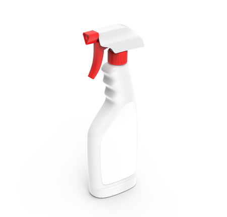 Glass Cleaner mockup, 3d rendering spray bottle template with red spray lid and blank label