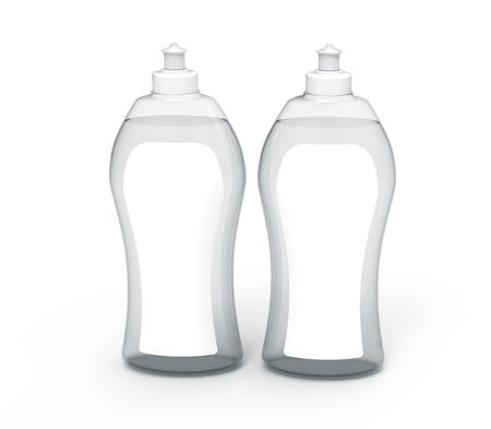 3 D レンダリング Dishwashing の液体、透明な洗剤モックアップ デザインのラベルの設定を使用してください。 写真素材