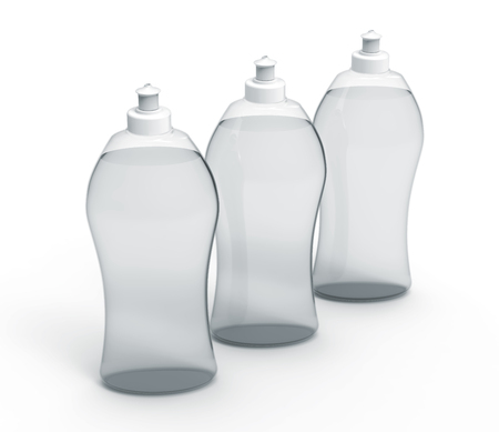 3D rendering Dishwashing liquid, transparent detergent mockup set for design uses