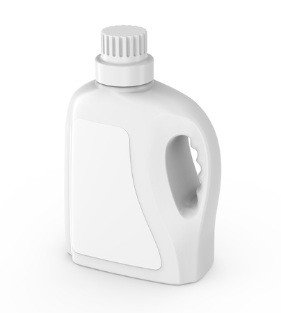 Laundry detergent container mockup, isolated blank plastic bottle with label in 3d rendering