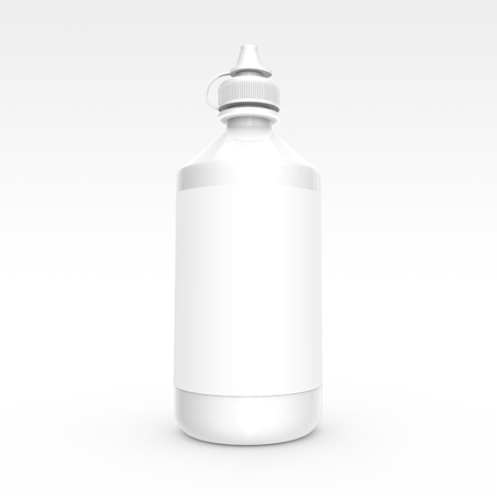 Contacts Solution bottle mockup, blank container with label in 3d rendering
