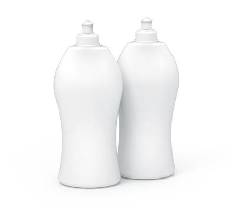 3D rendering Dishwashing liquid, blank household detergent mockup set for design uses