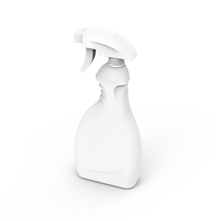 Glass Cleaner mockup, 3d rendering spray bottle template in white