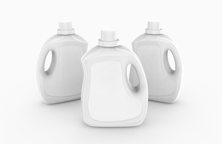Laundry detergent container mockup, blank plastic bottles set with label in 3d rendering