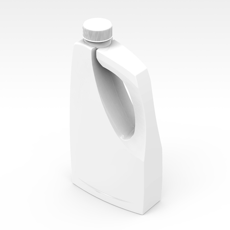 Blank detergent bottle mockup, drain cleaner plastic bottle isolated on white background in 3d rendering