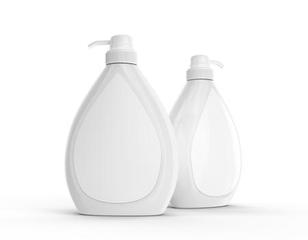 바디 워시 또는 액체 비누 병, 흰색 라벨 흰색 배경에 고립 된 빈 디스펜서 mockup 설정 스톡 콘텐츠
