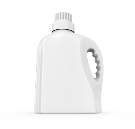 Laundry detergent container mockup, isolated blank plastic bottle in 3d rendering