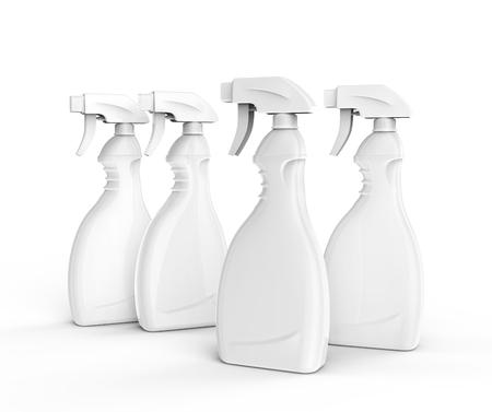 Glasreinigermodell, leere weiße Sprühflasche stellte in Wiedergabe 3d ein Standard-Bild - 86909762
