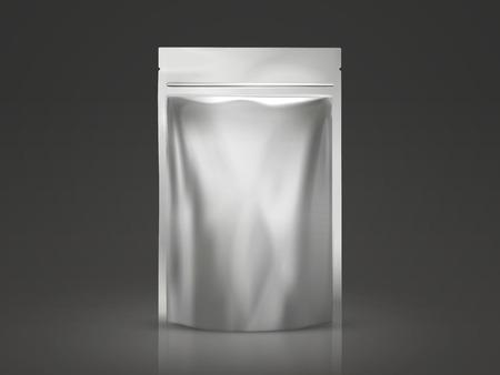 Leeg doy pakmodel, zilveren pakket voor ontwerpgebruik in 3d illustratie Stock Illustratie